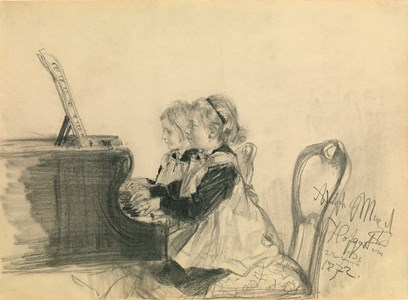 Therese and Grete Herrmann at the Piano