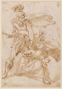 Study for a Massacre of the Innocents: A Roman Soldier with a Mother and Child [recto]; A Group of Draped Women and Children [verso]