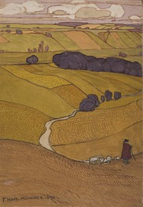 A Shepherd and his Flock in a Hilly Landscape