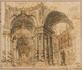 Design for a Stage Set: The Interior and Courtyard of a Palace