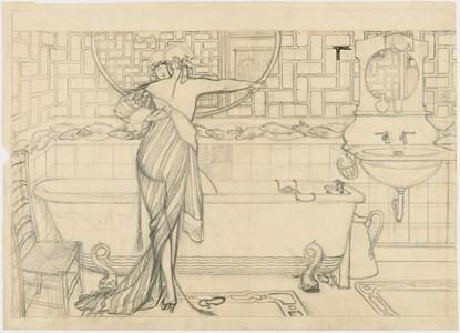 A Woman Stepping into a Bath
