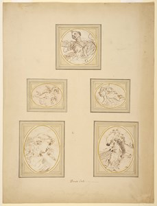 Five Drawings on an Album Page:  a. A Mythological Female Figure (Diana?), Looking Up to the Left b. A Winged Putto, Flying to the Right c. A Winged Putto, Flying to the Left d. The Head of a Woman, Resting her Chin on her Hand (Mary Magdalene?) e. The Head of a Bearded Man