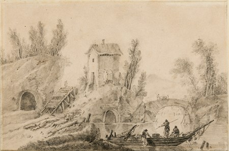 Fishermen by a Mill and an Arched Bridge