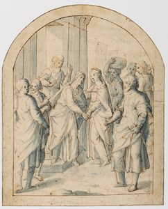 The Visitation [recto]; Sketch for The Visitation and a Design for its Frame and the Altar Chapel Facade [verso]