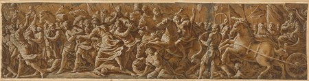 A Triumphal Procession with Musicians Before a Chariot and Horsemen Behind