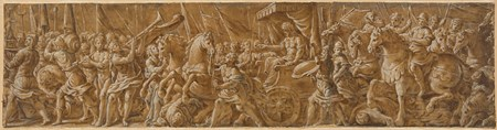 A Triumphal Procession with Prisoners and Horsemen Before a Chariot Bearing a Conqueror Crowned by Fame