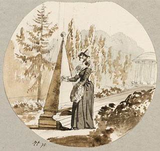 An Elegant Woman in a Garden, Inscribing a Monument in the Form of a Pyramid