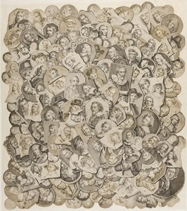 A Trompe-l'Oeil of a Collage of Engraved Portraits of Dutch and Flemish Painters