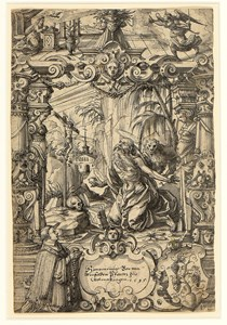 Design for a Stained-Glass Window: Saint Jerome in the Desert with the Annunciation Above, and a Kneeling Donor and a Coat of Arms Below