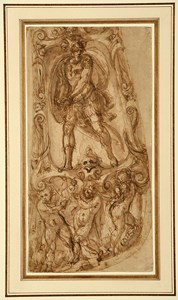 Study for Armour: A Warrior (Mars?) in an Elaborate Frame Supported by Putti