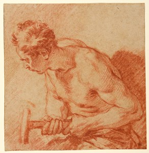 Study of a Male Nude Holding a Hammer