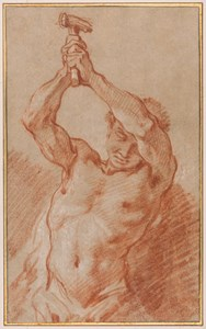 Study of a Male Nude Holding a Hammer Above his Head