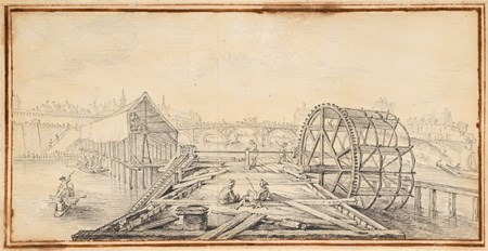 A View of the Pont-Royal in Orléans, with the Construction of a Pier in the Foreground