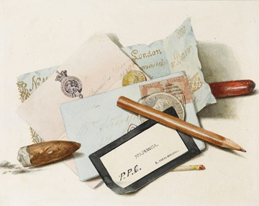 A Still Life of Letters, Cards, an Envelope, a Pencil, a Match and a Cigar Stub