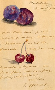 An Illustrated Letter, with a Still Life of Plums and Cherries