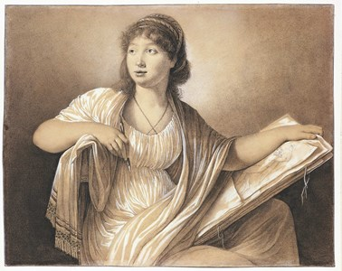 Portrait of a Female Artist with a Portfolio (Self-Portrait?)