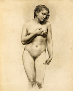 A Standing Nude Woman Holding Her Left Breast