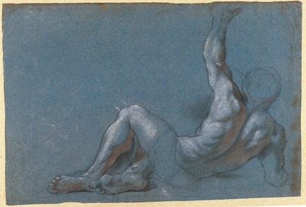 A Seated Male Nude, Seen from Behind, Reaching Up with His Left Arm [recto]; Study of a Veiled Figure [verso]
