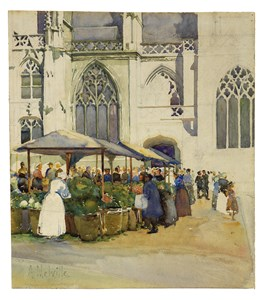 A Street Market by a Church, probably in Granville, Normandy