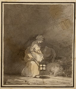 A Woman with a Lantern in a Barn