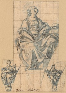 Three Designs for Pendentives with Allegorical Female Figures