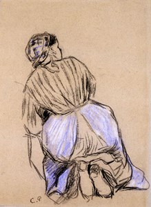 Study of a Kneeling Washerwoman, Seen from Behind