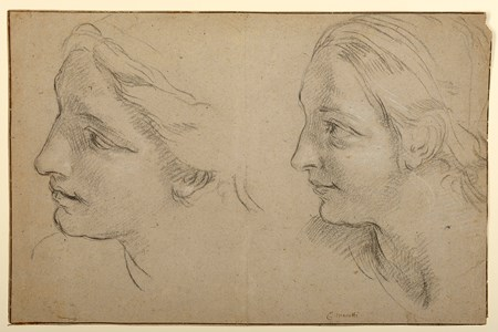 Two Studies of the Head of a Woman [recto], Study of Drapery of a Standing Woman [verso]