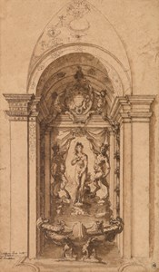 A Design for a Wall Decoration or Fountain, with a Nymph (Venus?) Flanked by Satyrs