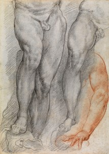 Study of Legs and an Arm [recto]; Torso of a Man Holding a Sword, and a Study of Legs [verso]