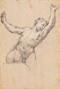 A Male Nude Kneeling on a Rock, His Arms Raised