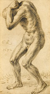 Study of a Standing Male Nude with His Hands over his Head