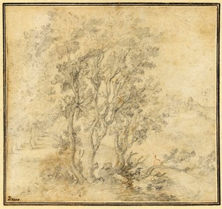 Landscape with a Grove of Trees, a Town in the Distance
