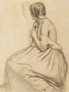 A Seated Young Woman Plaiting her Hair, Seen from Behind and Looking into a Mirror