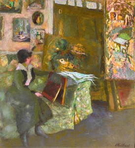 Model on a Green Sofa (Modèle sur un sofa vert)