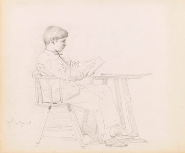 A Young Boy Reading at a Table [recto]; The Head of a Young Boy
