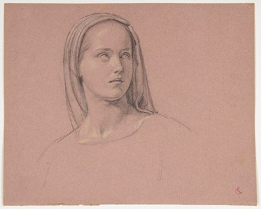 The Head of a Young Novice [recto]; Study of a Standing Female Nude and a Separate Study of a Standing Nun [verso]