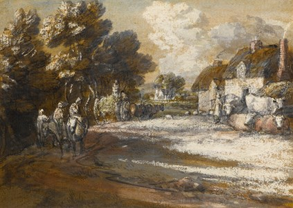 Travellers Passing Through a Village
