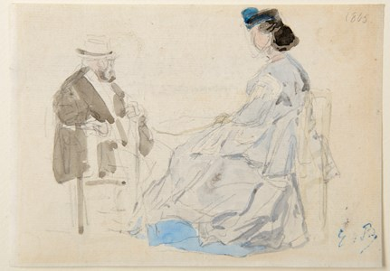 Study of a Seated Woman and Man on a Beach