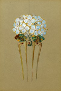 Design for a Comb in the Form of a Hydrangea Flower