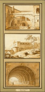 Three Italian Views: a. The Courtyard of a Monastery b. A Palazzo in the Roman Campagna c. The Vaults of the Palazzo Comunale in Anagni