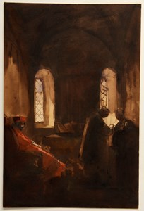 A Chapel with a Seated Cardinal and Two Priests