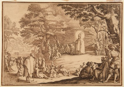 Saint Amond Preaching in a Wood, after Jacques Callot