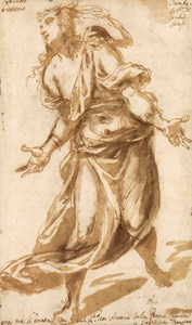 A Draped Female Figure [recto]; Two Studies of Falling Male Nudes [verso]