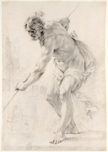 Study of a Male Nude Holding a Pole