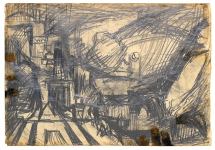 Study after Turner's The Parting of Hero and Leander [recto]; A Building Site [verso]
