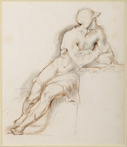 Study of a Seated Man Wearing a Helmet