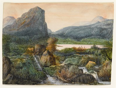 Mountainous Landscape with a Lake and Waterfalls