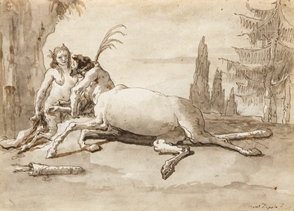 A Reclining Centaur and a Satyress in a Landscape