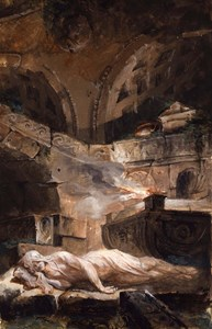 A Vestal Virgin Reclining by a Holy Flame