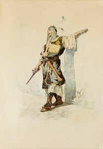 A Moorish Soldier Holding a Pistol